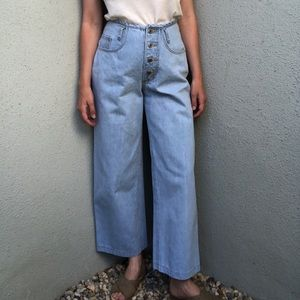 [vintage] wide leg button fly high waist jeans